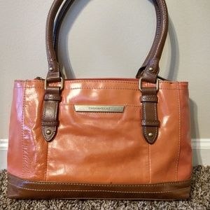 Tignanello Distressed Leather Orange and Tan Handb